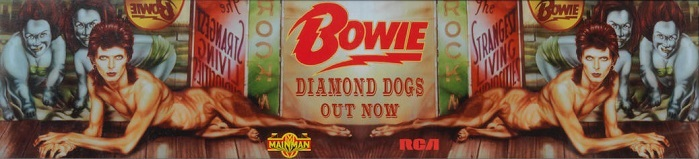 David Bowie Diamond Dogs Autographed Album Cover And Promo Banner, 1997