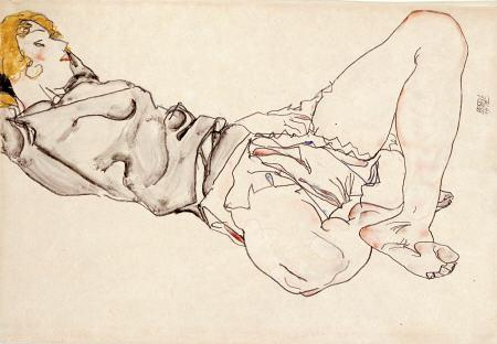 egon schiele Reclining Woman With Blond Hair print