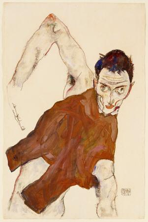 egon schiele Self Portrait In A Jerkin With Right Elbow Raised print
