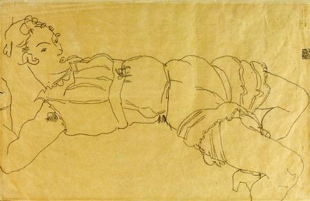 egon schiele Young Woman Lying On Her Back print